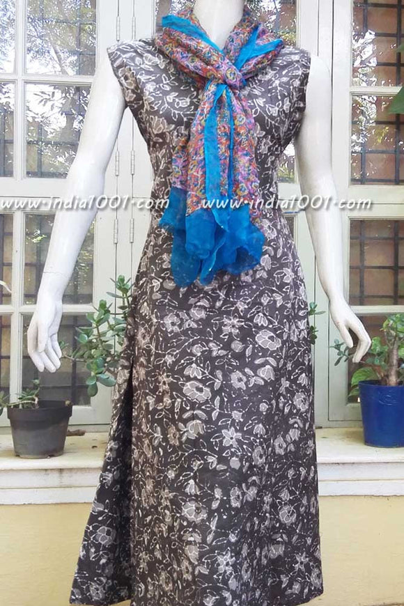 Elegant Block Printed Cotton Long Dress