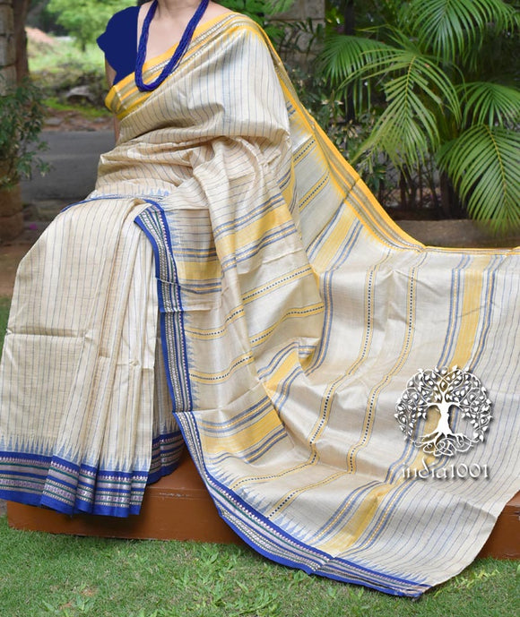Elegant Vidarbha Tussar Karvati Kinaar saree with Ganga Jamuna border & woven stripes