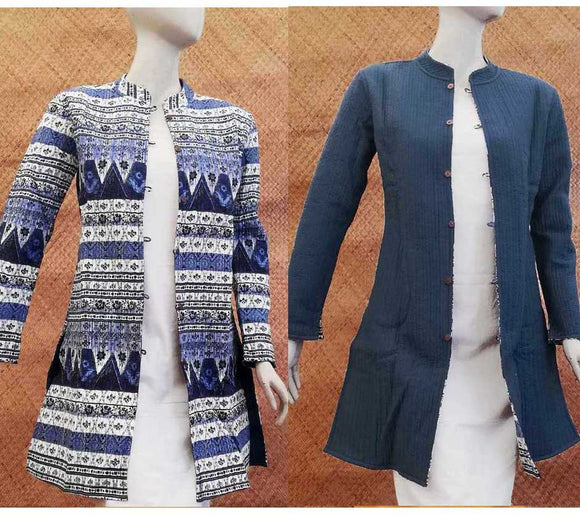 Block Print Quilted Reversible Long cotton jacket