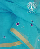 Elegant Faux Kota Saree with all over Hand embroidery