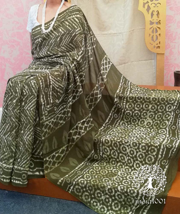 Beautiful Hand Block printed Chiffon Saree