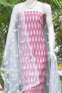 Elegant Ikkat kurta fabric & Embroidered Net Dupatta