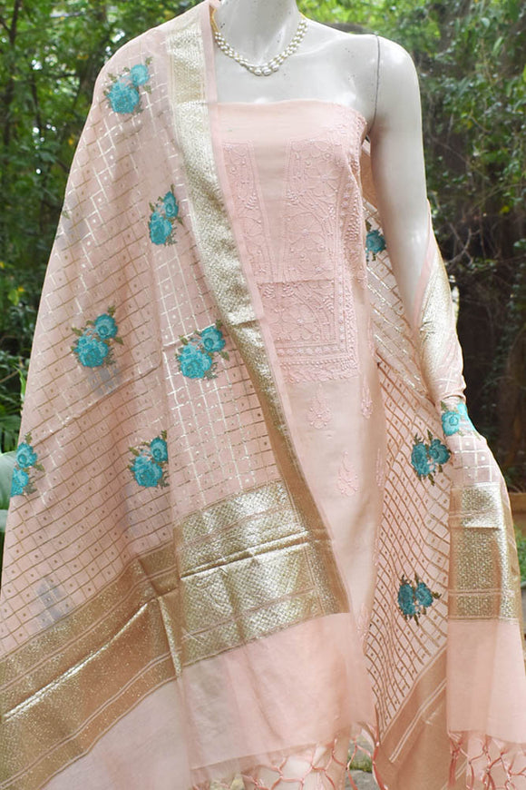 Elegant Chanderi Suit with Chikankari Work Kurta & Embroidered Banarasi dupatta