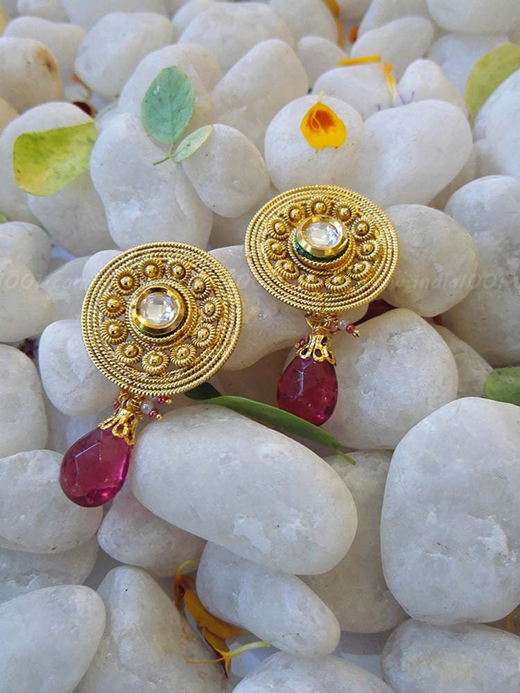 Designer Kundan and Polki Earring