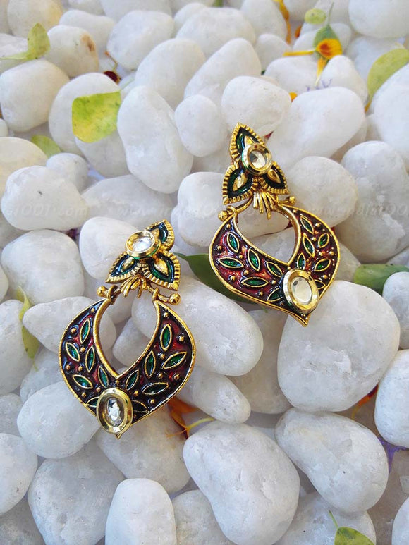 Designer Kundan and meenakari Earring