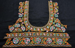 Beautiful Mashru Silk Blouse Fabric with Kutch Ahir Hand Embroidery