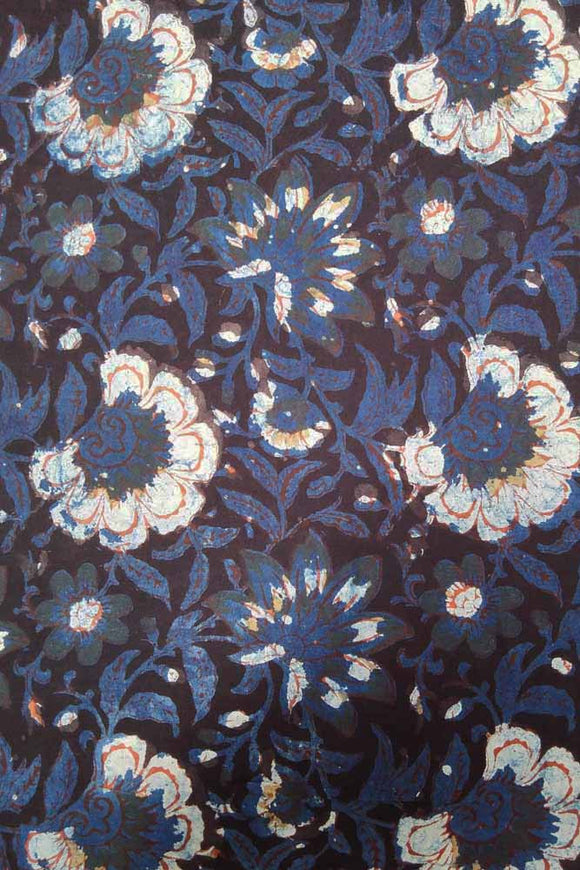 Dabu & Bagru Hand Block Printed Cotton Fabric