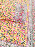 Hand block printed Double Bed sheet with pillow covers