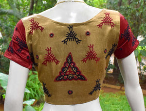 Beautiful Mashru Silk Fabric Blouse with Kutch Work Embroidery- size 38