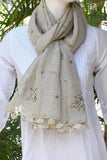 Beautiful Linen Stole with hand embroidery & tassels