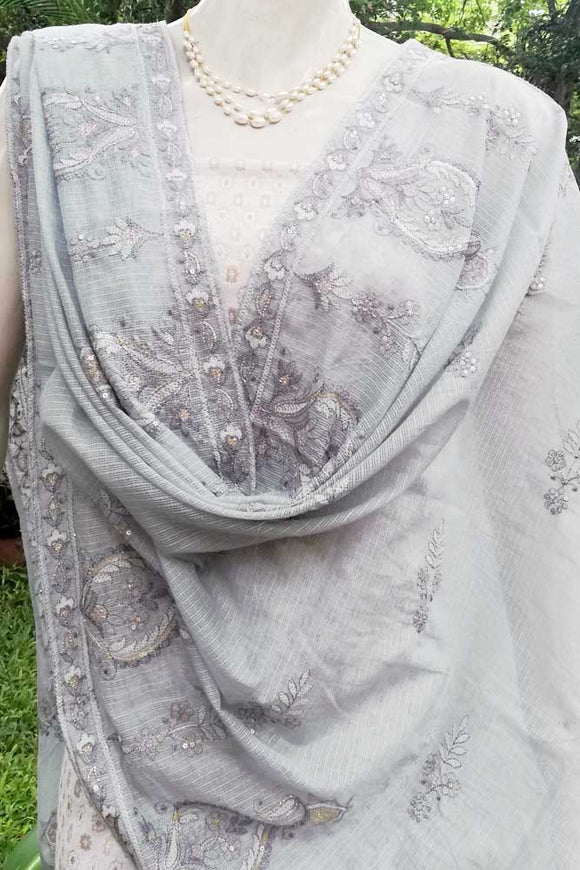 Faux Kota Dupatta with Embroidery