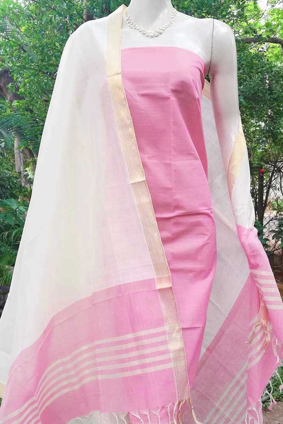 Elegant Handwoven Mangalgiri Cotton Unstitched suit Fabric