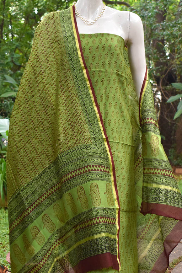 Classic Bagh Block Printed unstitched Chanderi suit fabric