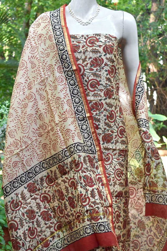 Beautiful Block Printed Chanderi unstitched suit fabric