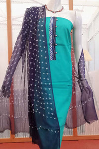 Elegant Cotton unstitched suit fabric with Bandhani dupatta