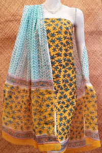 Beautiful Block Printed Cotton unstitched suit fabric with Tagai work