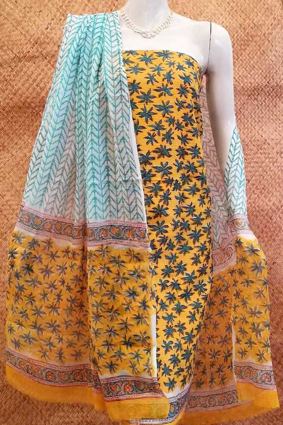99a1c4dfa7 Beautiful Block Printed Cotton unstitched suit fabric with Tagai work