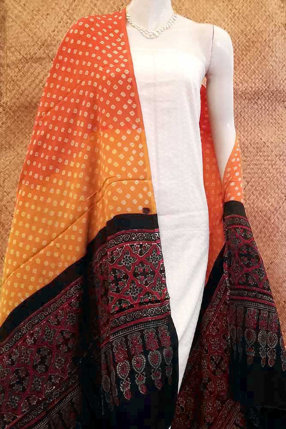 Beautiful Bandhani and  Ajrakh Modal Silk  Dupatta