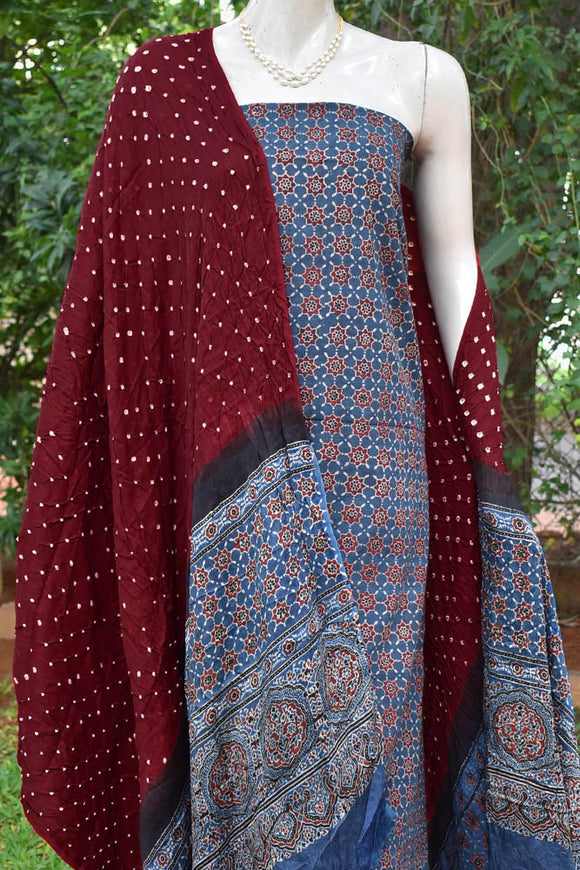 Beautiful Bandhej Ajrakh Modal dupatta with Ajrakh fabric set