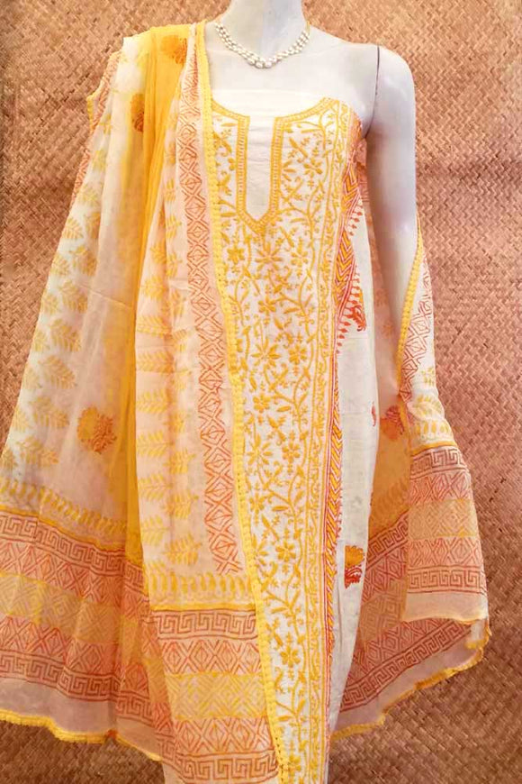 Beautiful Cotton Unstitched Suit Fabric with Lucknowi work