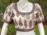 Ajrakh Cotton Blouse with all over Sequins  - Size 38