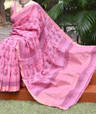 Beautiful Handwoven Mangalgiri Saree with Sanganer Block printing