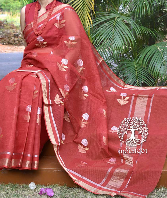 Beautiful Kota Cotton Saree with all over woven motifs