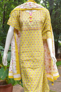 Beautiful Block Printed Cotton suit with Gota work