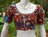 Hand Painted Kalamkari Blouse with mirror work  - size 38, 40