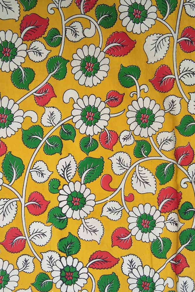 Kalamkari Block Printed Cotton Cut (blouse) Fabric