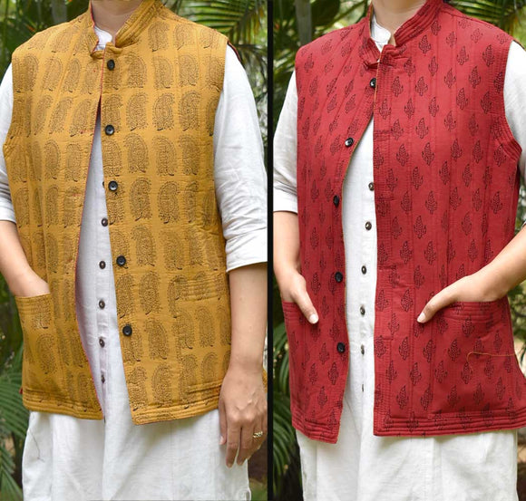 Bagh Block Print Quilted Reversible Sleeveless cotton jacket - Size 38