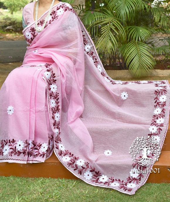 Elegant Kota Cotton Saree with Aari work Embroidery