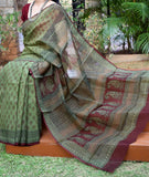 Elegant Kota Cotton Saree with Bagh Hand Block Printed Motifs ( without BP)