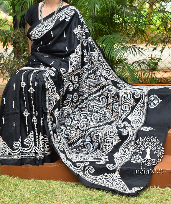 Hand Embroidered Gujrati Kutch work Bangalore Silk saree