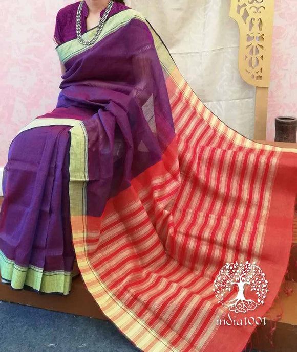 Elegant Mangalgiri & Linen saree with Missing weave
