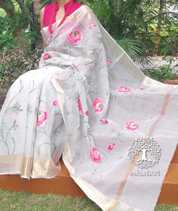 Elegant Kota Cotton Saree with Embroidered patterns ( without BP)