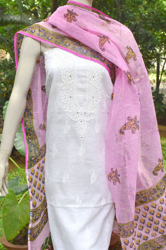 Block Printed Kota Dupatta with embroidered Chikankari kurta fabric & Muqaish work