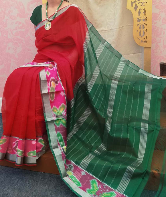 Elegant Mangalgiri Silk Saree with Ikkat border