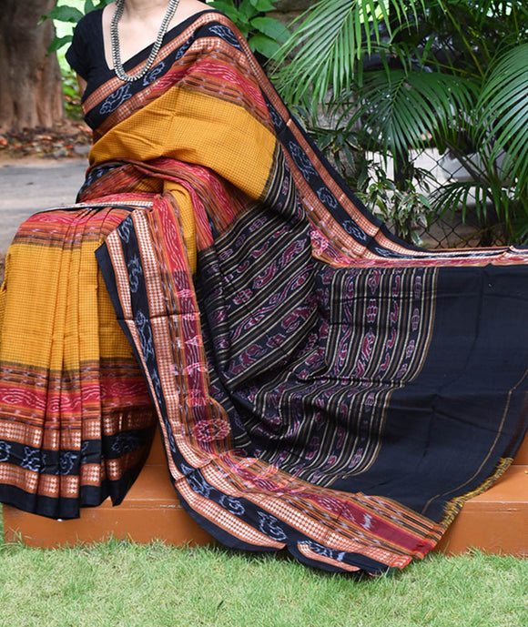 Woven Sachipar Cotton Saree with middle border from Orissa ( without bp)