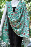 Hand Painted Mirror work Kalamkari Dupatta with Woven Mangalgiri Cotton Kurta