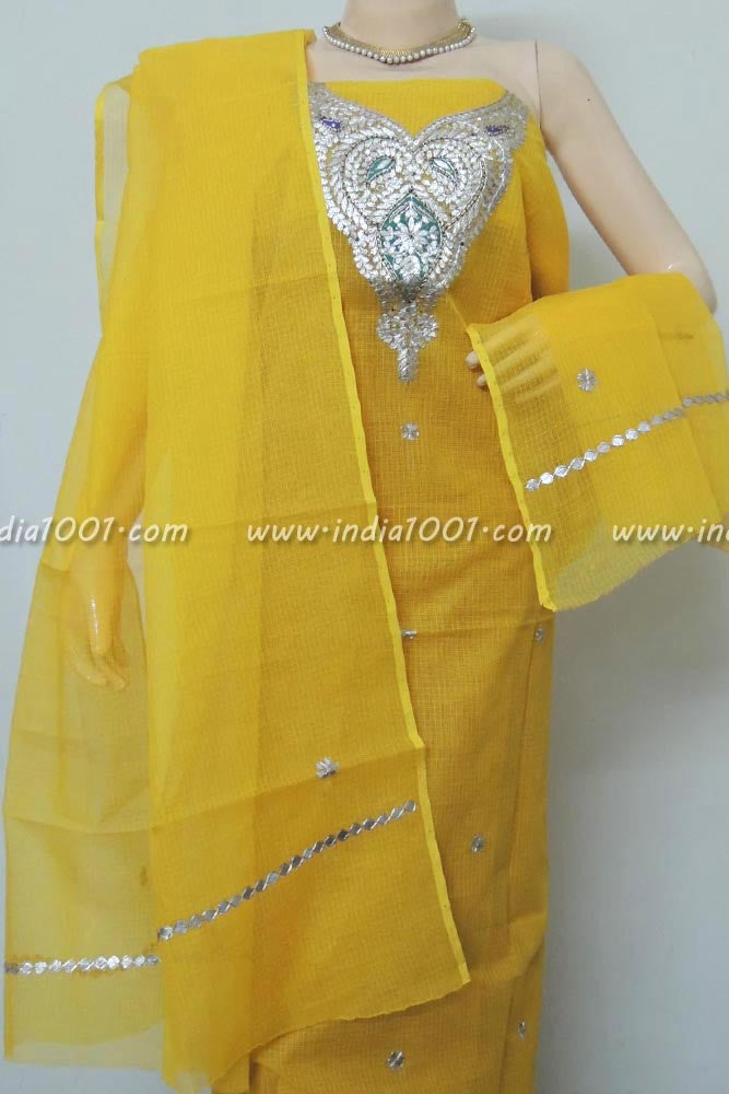Kota Cotton Kurta & Dupatta Combo with Hand done Gota Patti Work