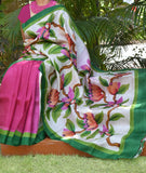 Handwoven Bisnupur Silk Saree with Handpainted motifs