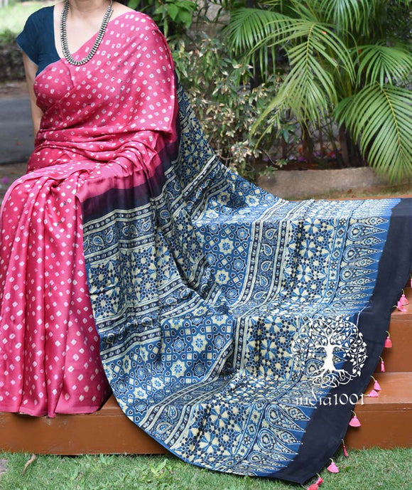 Beautiful Hand-Crafted Modal Silk Ajrakh & Bandhani Saree