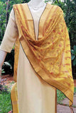 Beautiful Chanderi dupatta with zari border & block print