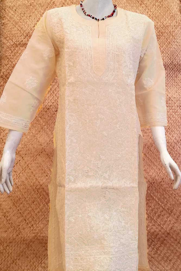 Elegant Voile Cotton Long Kurta with Chikankari Size - 42