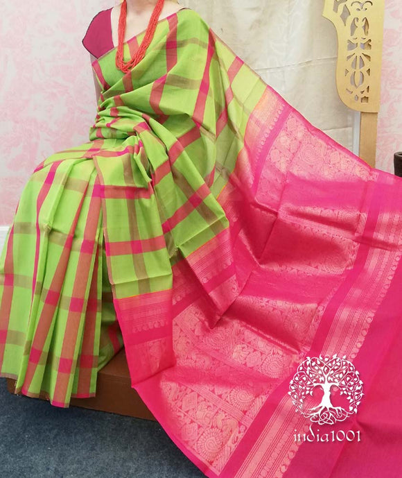 Beautiful Kovai Kora Silk Cotton saree with heavy palla