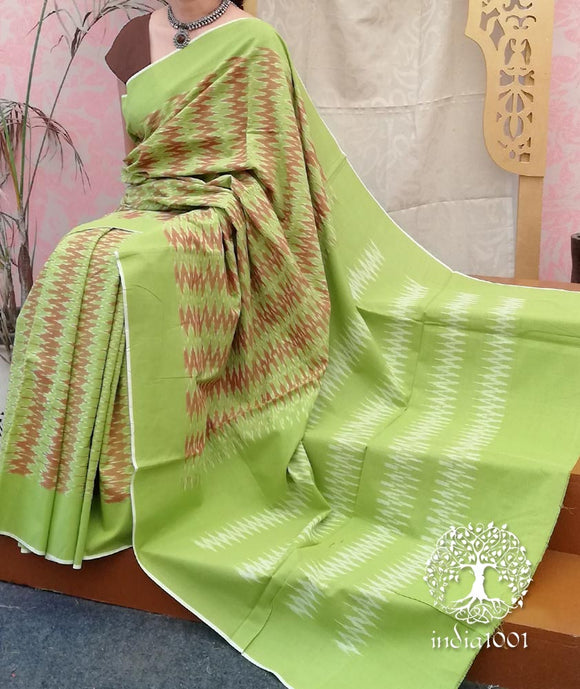 Elegant Woven Ikkat Cotton Saree ( without BP)