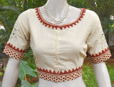 Cotton Blouse with hand done mirror work - Size 40