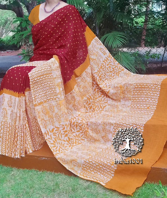 Beautiful Hand-Crafted Mul Cotton Batik Bandhani Saree