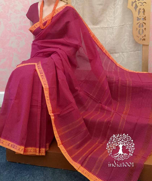 Chettinad Cotton Saree with Woven Rudrakh & Annapakshi border( without BP)
